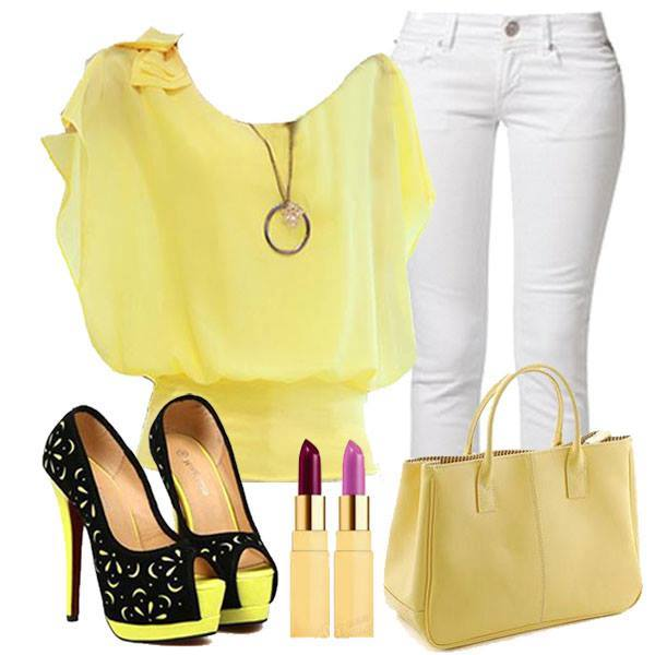 wear White jeans with yellow dress.