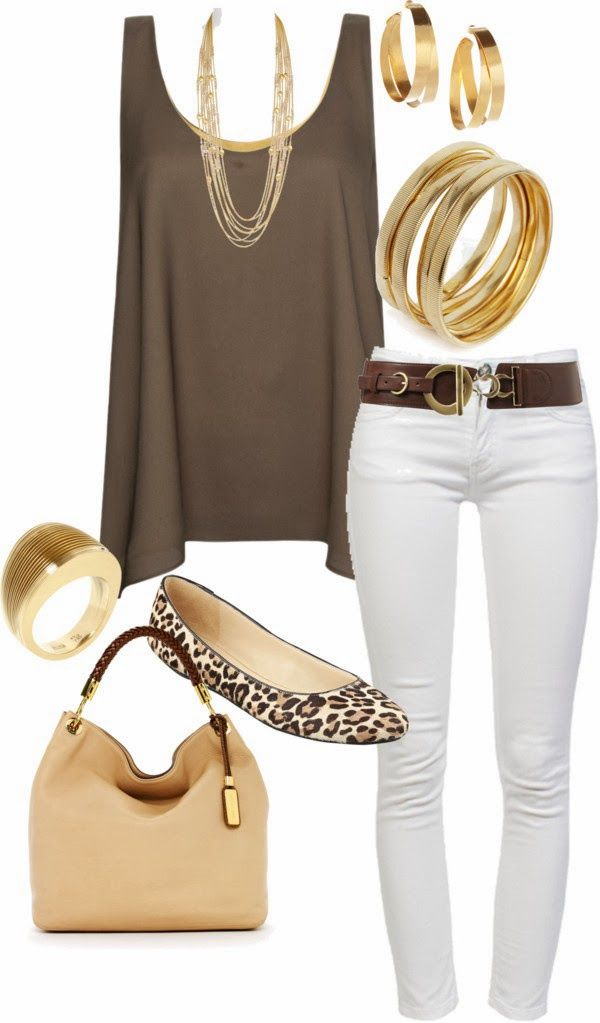 wear White jeans with brown dress.
