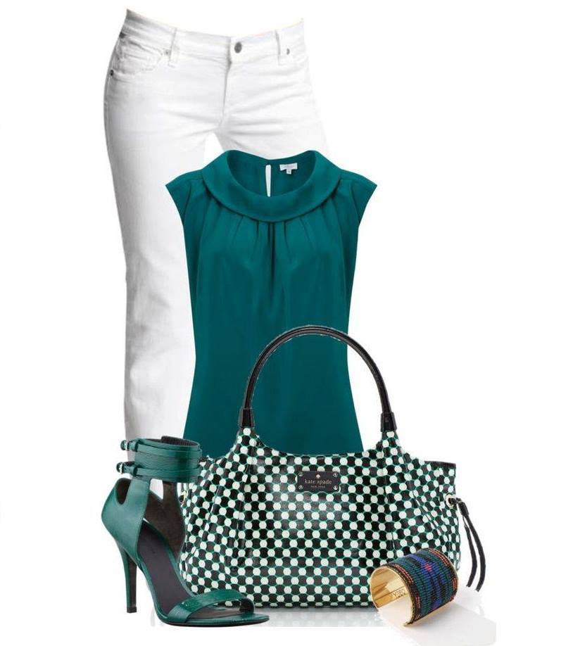wear White jeans with green.