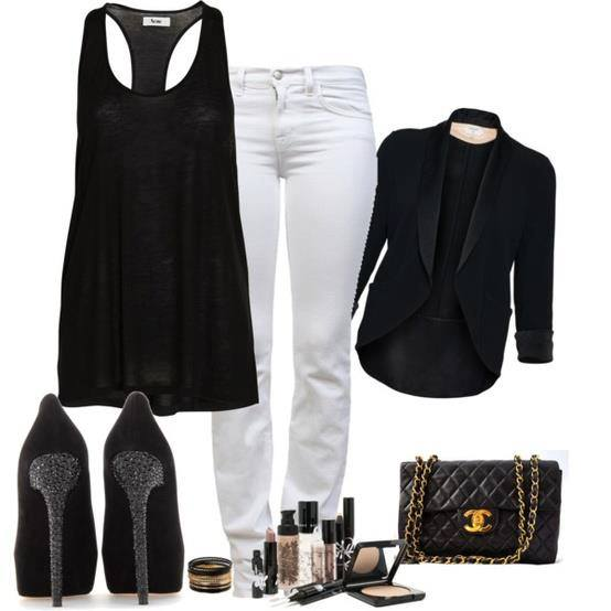 wear White jeans with black.